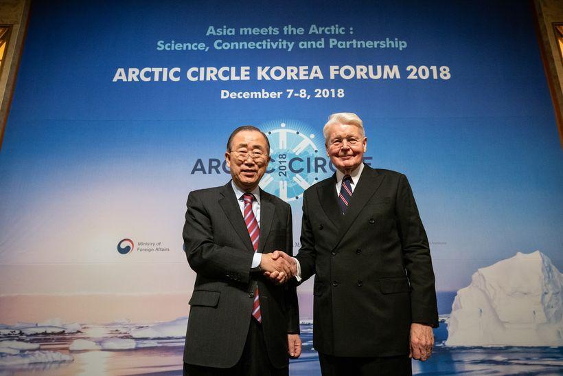 Ban Ki-moon, fyrrverandi framkvæmdastjóri Sameinuðu þjóðanna, og Ólafur Ragnar, Grímsson ...