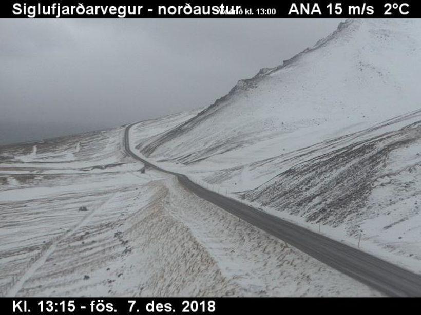 Siglufjarðarvegur nú á öðrum tímanum í dag.