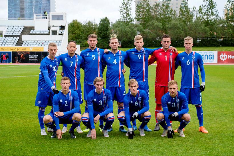 Íslenska U21 árs landsliðið sem mætti Eistlandi í september.