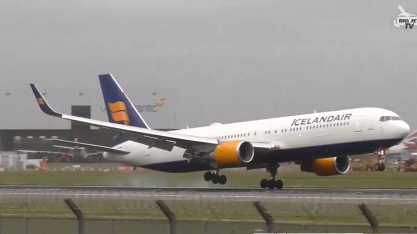 Lending vélar Icelandair er sögð ótrúleg á síðu Big Jet ...