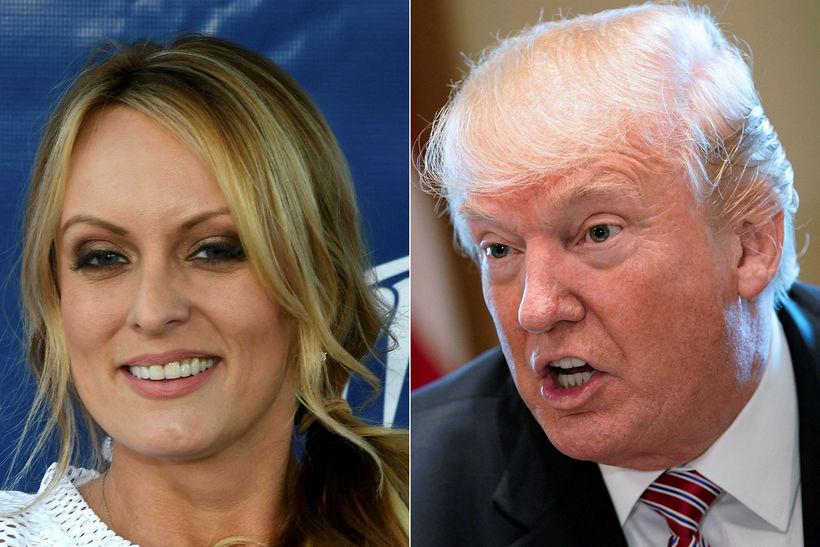 Klámmyndaleikkonan Stormy Daniels og Donald Trump Bandaríkjaforseti. Gögn FBI virðast …