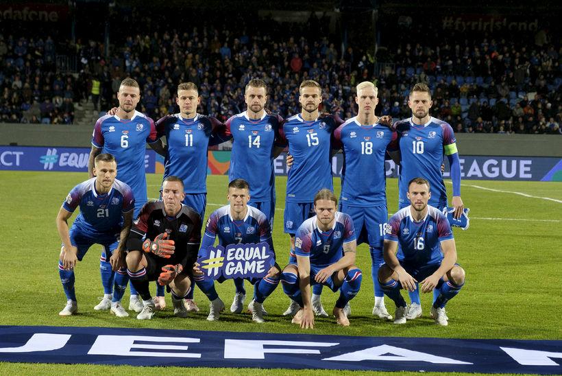 Byrjunarlið Íslands í leiknum á móti Sviss í Þjóðadeild UEFA.