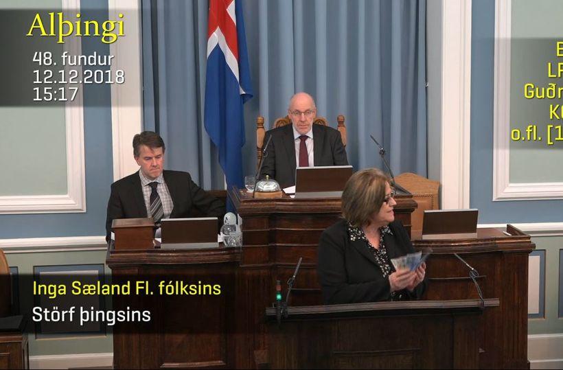 Inga Sæland tók út jólabónusinn sinn.