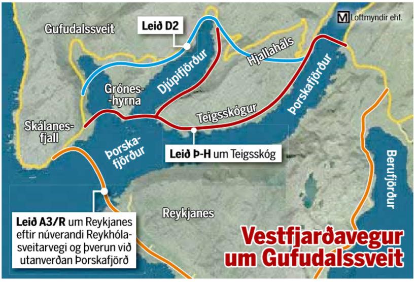 Möguleikar á legu Vestfjarðavegar um Reykhólahrepp.