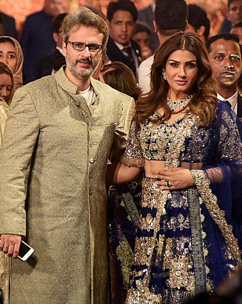 Bollywood-leikkonan Raveena Tandon með eiginmanni sínum Anil Thandani.