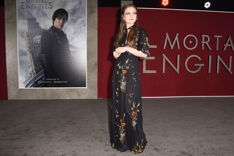"""Leikkonan Hera Hilmarsdóttir hér á frumsýningu myndarinnar """"Mortal Engines"""