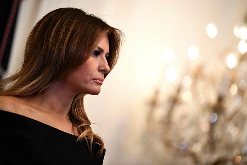 Melania Trump skartaði dökku hári þann 6. desember.