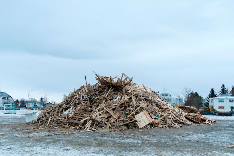 A bonfire ready to be lit at Ægissíða, west Reykjavik.