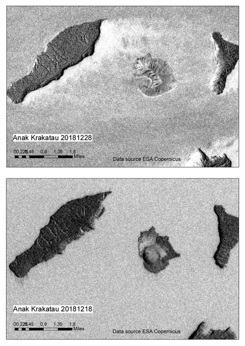 Radarmyndir sýna sláandi mun á Anak Krakatau eftir að aðalgígur ...