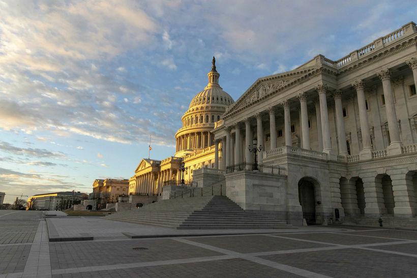 Bandaríska þinghúsið, Capitol, í Washington DC. Fulltrúadeildin er þar til ...