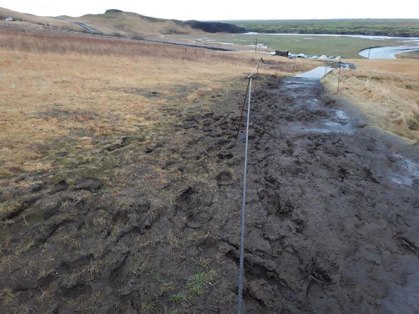 Eins og sjá má er ástandið slæmt við Fjaðrárgljúfur.