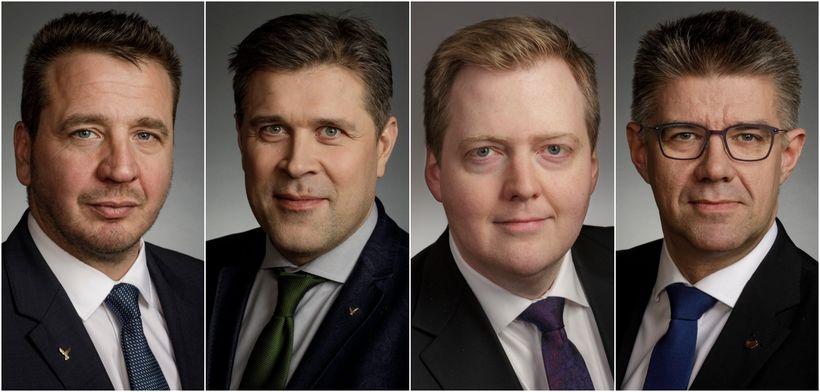 Guðlaugur Þór Þórðarson, Bjarni Benediktsson, Sigmundur Davíð Gunnlaugsson og Gunnar ...