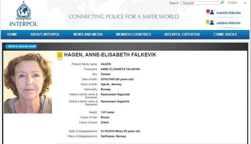 Bæði Interpol og Europol taka þátt í leitinni að Anne-Elisabeth ...