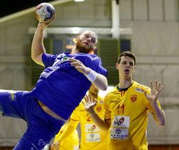 Arnar Freyr Arnarsson að skora gegn Makedóníu.
