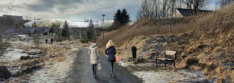 Skýringaruppdráttur; þrívíddarmynd þar sem sést í átt að lóð 3 ...