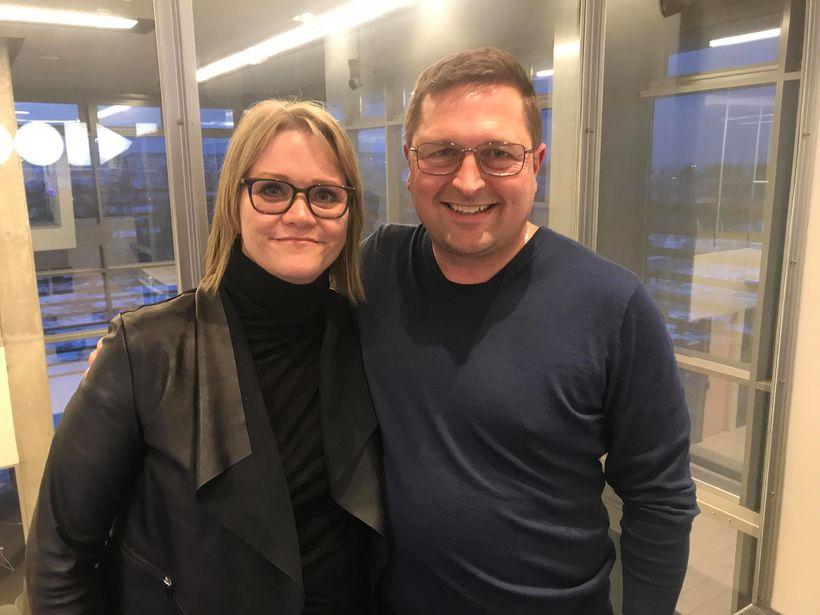Katrín Júlíusdóttir og Margeir Vilhjálmsson, pistlahöfundur Ísland vaknar voru síðdegis ...