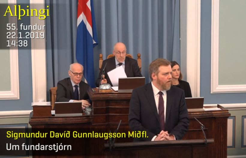 Sigmundur Davíð Gunnlaugsson og Steingrímur J. Sigfússon á Alþingi í ...