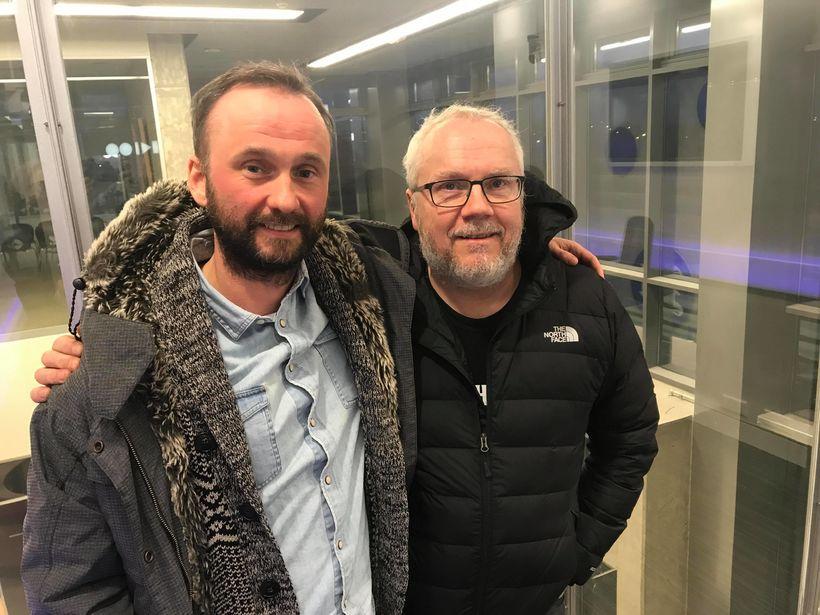 Líffæragjafi og líffæraþegi. Kristján Kristjánsson og Gunnar Árnason, sem komu ...