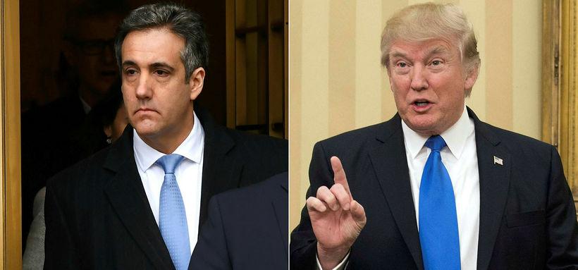 Cohen og Trump á samsettri mynd.