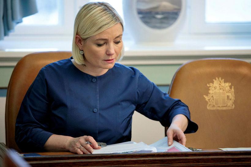 Lilja Alfreðsdóttir á Alþingi í dag.