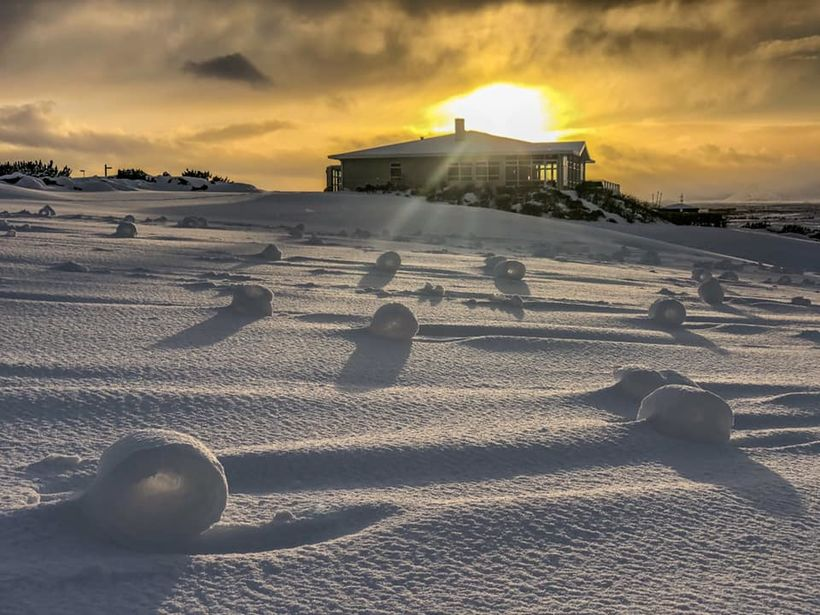 Snow rollers are made when wind blows snow that was …