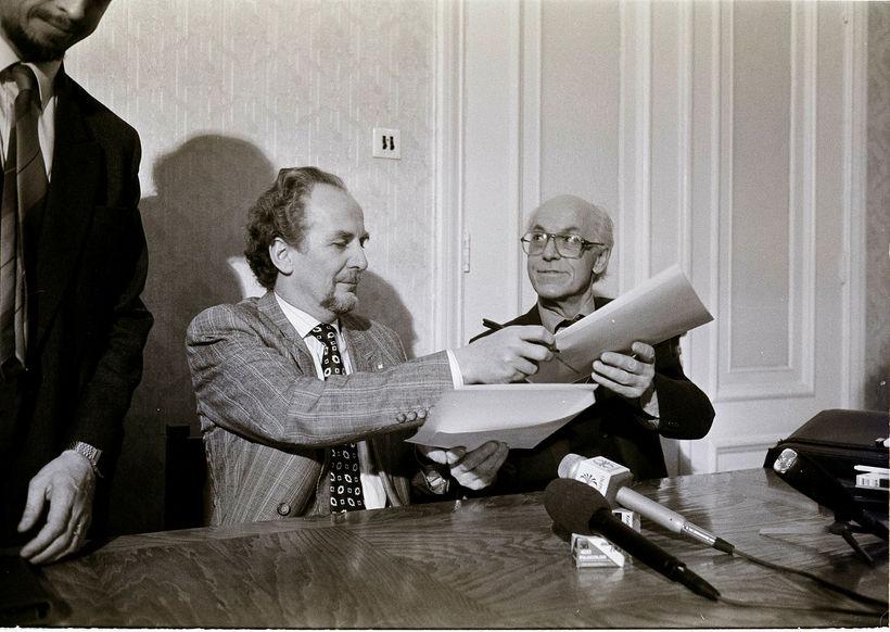 Jón Baldvin og Lennart Meri árið 1991.