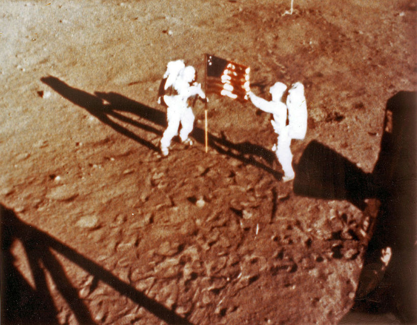First men on the moon in 1969.