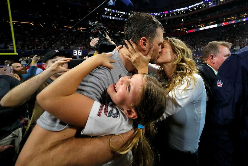 Tom Brady smellti kossi á Gisele Bündchen eftir að hafa …