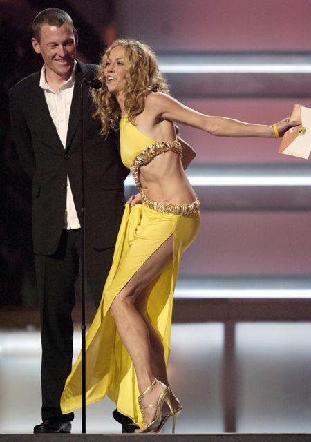 Söngkonan Sheryl Crow og þáverandi unnusti hennar, hjólreiðakappinn Lance Armstrong, …