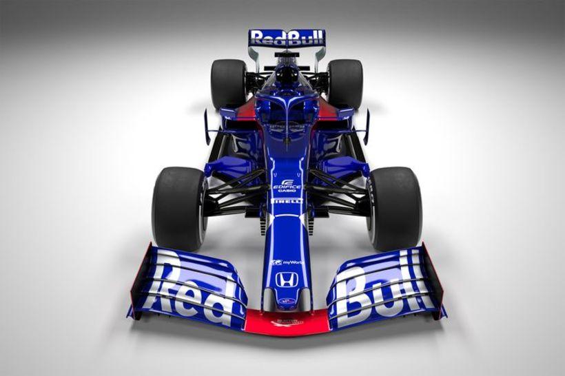 Keppnisbíll Toro Rosso 2019. Á honum má sjá breytingar sem ...