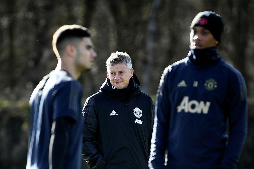 Ole Gunnar Solskjær á æfingu Manchester United í gær.