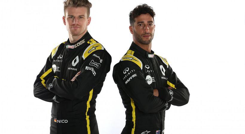 Nico Hülkenberg (t.v.) og Daniel Ricciardo keppa fyrir Renault í ...
