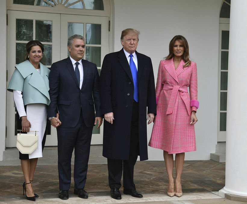 Forseti Kólumbíu, Ivan Duque, og kona hans, Maria Ruiz, með …