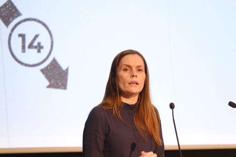 Katrín Jakobsdóttir forsætisáðherra ávarpar Viðskiptaþing.