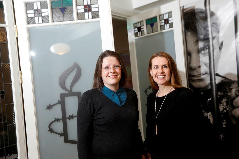 Anna Lúðvíksdóttir, framkvæmdastjóri Amnesty Ísland, og Kitty Anderson, formaður Intersex …
