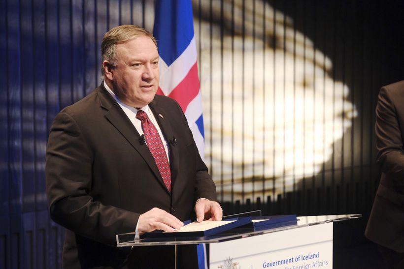 Michael R. Pompeo, utanríksráðherra Bandaríkjanna í Hörpu í dag.