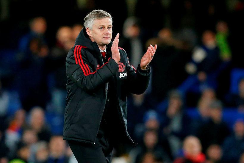 Ole Gunnar Solskjær fagnar sigri Manchester United gegn Chelsea á ...