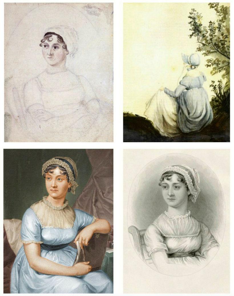 Ólíkar myndir af skáldkonunni Jane Austen. Í efri röð eru ...
