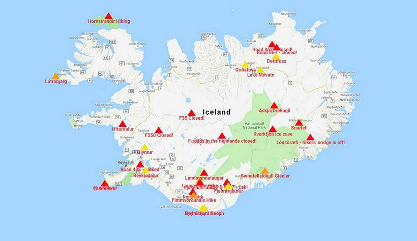 Þríhyrningarnir á korti Safetravel.is tákna að hægt er að fá ...
