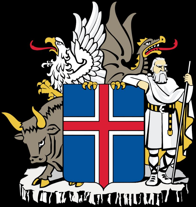 The coat of arms of Iceland displays a silver-edged, red ...