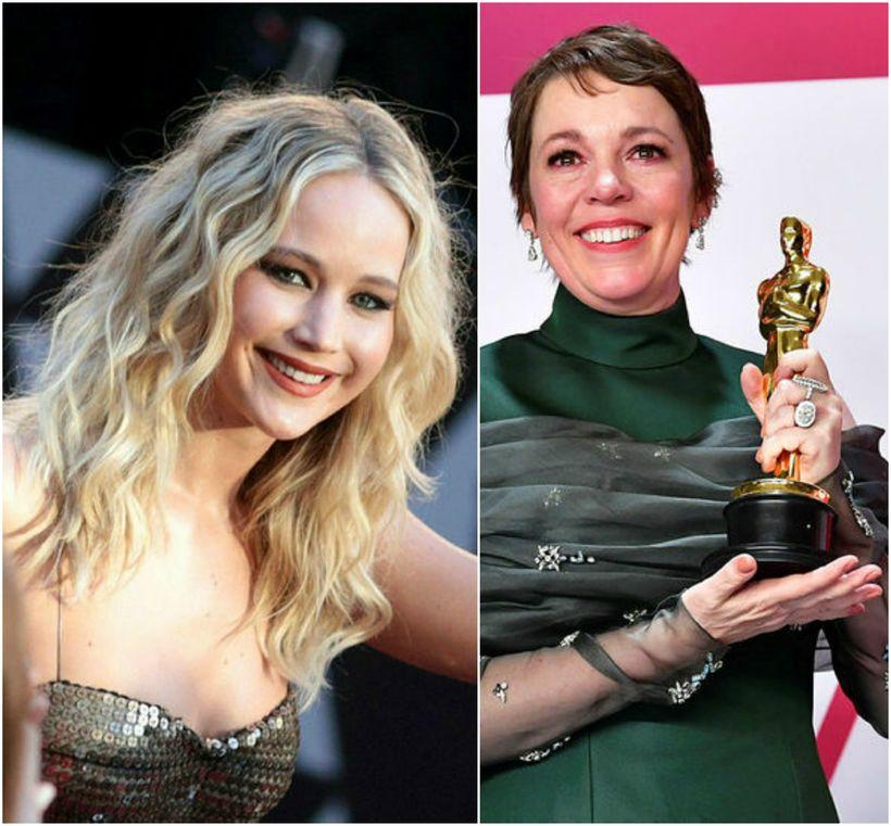 Jennifer Lawrence og Olivia Colman eru með sama þjálfarann.