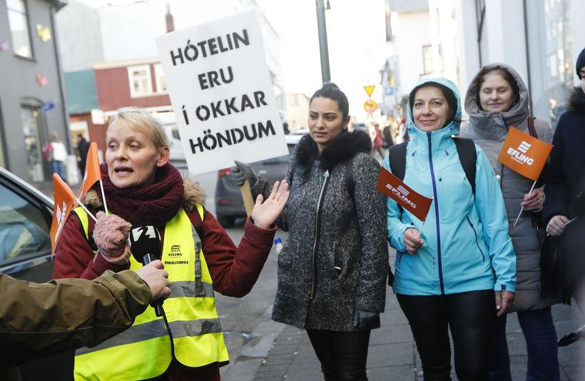Sólveig Anna Jónsdóttir, formaður Eflingar, krafðist verulegra bóta á kjörum ...