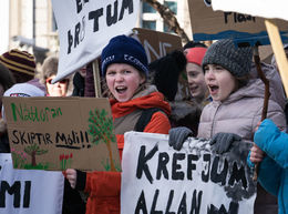 Icelandic children on climate strike last Friday, demanding that the government take more action to secure their future.