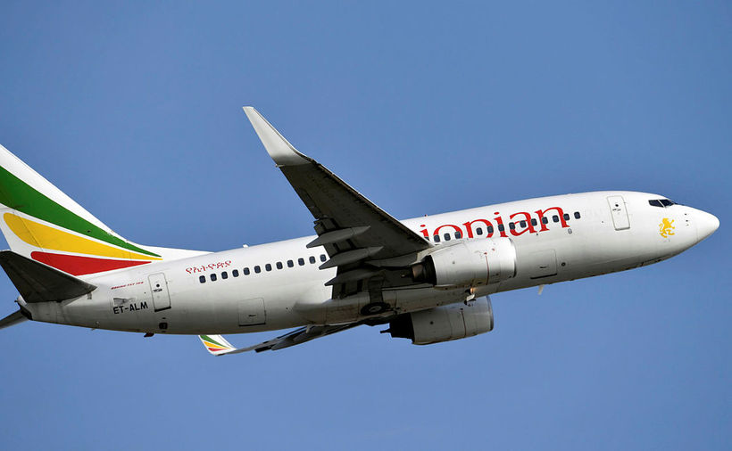 Boeing-vél í eigu Ethiopian Airlines. Vélin er ekki sömu gerðar ...