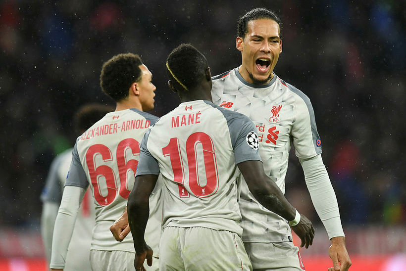 Leikmenn Liverpool fagna einu af þremur mörkum sínum gegn Bayern ...