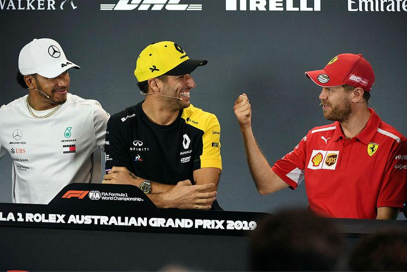 Lewis Hamilton, Daniel Ricciardo og Sebastian Vettel á blaðamannafundi í ...