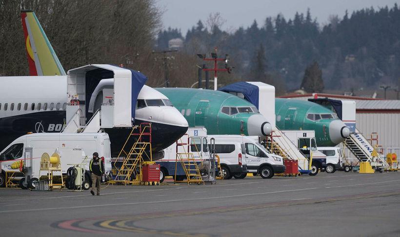 Boeing 737-MAX-flugvélar á flugvellinum í Renton í Washington-ríki í Bandaríkjunum ...