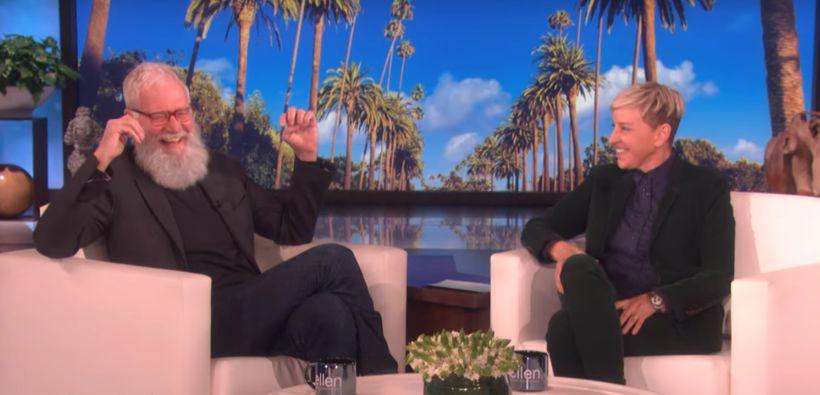David Letterman hress í sófanum hjá Ellen.