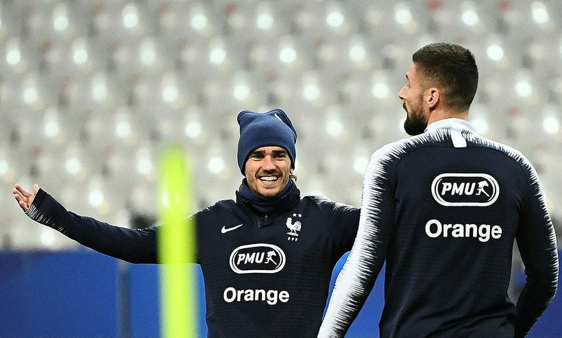 Antoine Griezmann og Oliver Giroud á æfingu franska landsliðsins á ...