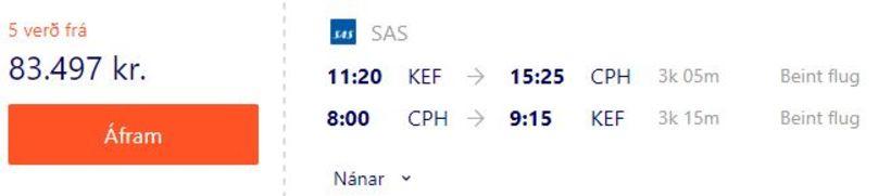 Flugverð með SAS til Kaupmannahafnar um helgina.